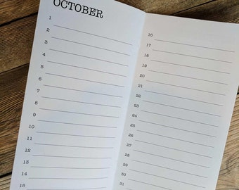 PERPETUAL CALENDAR Insert for Traveler's Notebook- Available in 8 sizes and 22 colors