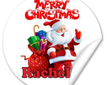 Personalised Christmas Stickers / Seals, Full Colour Gloss 45mm, Santa V1