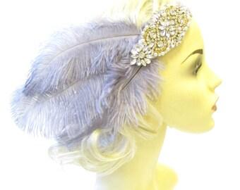 Grey Gold Silver 1920s Feather Headband Headpiece Flapper Great Gatsby Vtg 1381