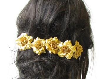 5 x Metallic Gold Rose Flower Hair Pins Vintage Rockabilly Clip 1950s Set 1521