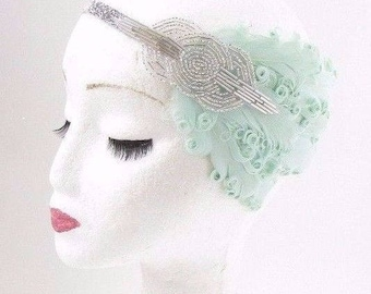 Mint Green Silver Feather Headband 1920s Flapper Vintage Headpiece Art Deco 2833