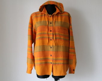 Vintage Striped Hooded Shirt Orange Olive Cotton Blouse Medium Size