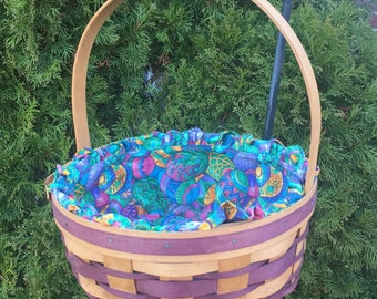 Handmade Gerald E. Henn Easter Basket w/ Liner- WARREN, OHIO - purple accents
