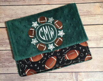 Football with name option Burp Cloth Set  Available Mix and Match  Made to Order, Monogramming Option Green Black Sport
