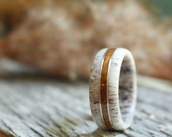 Elk Antler with USS NC Teak Wood with Double Rose Gold Inlay Ring, Mens Ring, Womens Ring, Wedding, Engagement, Anniversary, Colorado