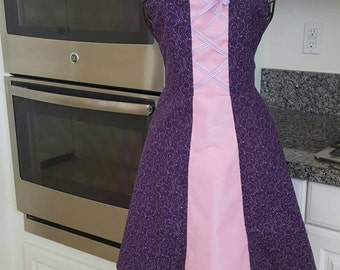 Women's Rapunzel inspired  apron ready to ship