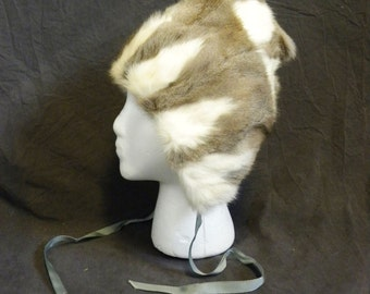 "Vintage fur hat sherpa Russian U.S.S.R. lined beautiful warm 22"" Medium soft brown cream luxurious exquisite"