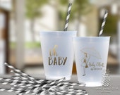 Baby Shower Cups   Personalized Frosted Cup   Monogrammed Cups   Personalized Plastic Cups   Oh Baby Party Cups   social graces Co.