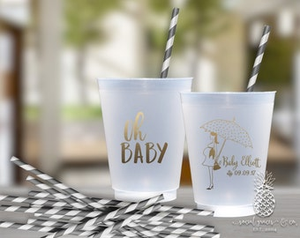Baby Shower Cups | Personalized Frosted Cup | Monogrammed Cups | Personalized Plastic Cups | Oh Baby Party Cups | social graces Co.