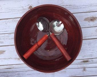Wood Salad Bowl Set  Vintage salad bowl Vintage Kitchen
