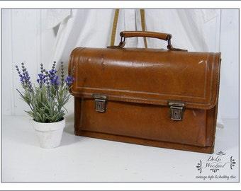 Bolso de cuero Vintage / bolsa de médico de Francia
