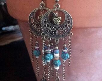 Bohemian bronze chandelier feather earrings