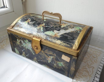 vintage Belgium metal biscuit tin designed as a chest