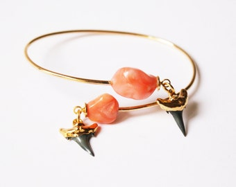 Coral and shark teeth cuff
