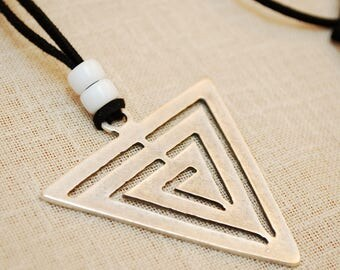 Triangle Arrow Necklace, black leather cord pendant, geometric necklace, silver big tribal pendant, everyday boho necklace, rystic style