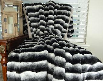 Black White Chinchilla Faux Fur Throw Blanket & Bedspread - Black Chinchilla Fur -  Black White Chinchilla Throw Blanket - Fur Blanket-16432