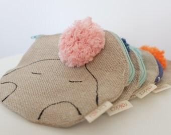 Multipurpose zippered pouch from hemp FREE SHIPPING, Hemp coin purse, Round pouch with zipper, Hemp cosmetic bag, Hemp fabric pouch
