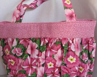 Handbag Purse Women's Accessories Fabric Handmade Pink Petunia Print