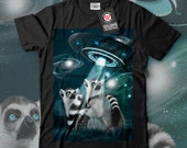 Lemur Spacecraft Space Animal Men Black White Grey Red Royal Blue Tshirt S5XL NEW  Wellcoda y1347