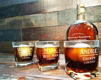 Square Whiskey Glasses, Custom Engraved Whiskey Glasses, Personalized Engraved Whiskey Glasses, Groomsmen Gift -  SHIPS FAST - Set of 2