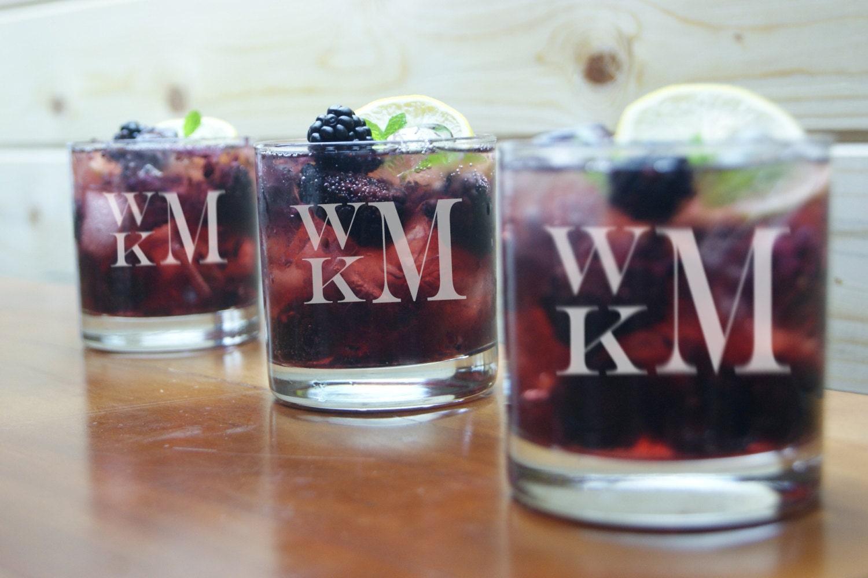 personalized whiskey glasses  monogram  engraved whiskey glasses  rocks glasses  personalized