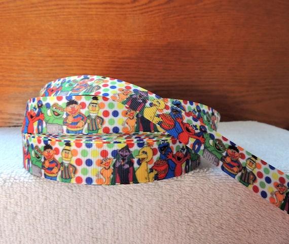 7 8 Grosgrain Ribbon Sesame Street Oscar Elmo Cookie Monster On Polka Dot Background 3 Yards From Sparklesbeadsandmore Etsy Studio