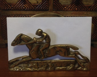 Vintage Brass Jockey Letter Holder, Brass Letter Holder, Vintage Brass Horse, Horse Shoe, Vintage Desk accessories, Vintage Equestrian