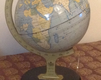 Antique Chad Valley Company Ltd., Tin Lithograph Small Globe, made in England