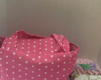 Pink With White Polka Dots Baby Diaper Bag