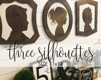 Farmhouse Style Silhouettes (QUANTITY 3) 11x14 / child silhouettes / child portraits / wood silhouettes