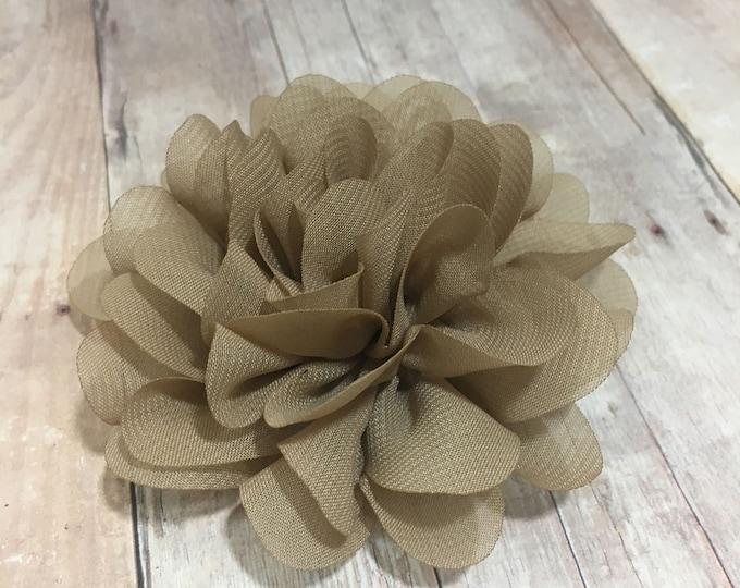"3 1/2"" Tan Chiffon Flower | Flower for Dog Collar | Medium/Large Dog | CupcakePups"