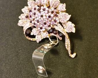 Purple Flower Badge Holder