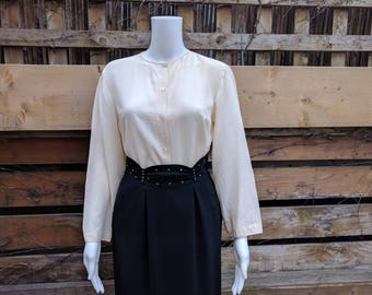 Vintage 1990's White Plain Front No CollarButton Down The Back Blouse 100% Silk Office Secretary Blouse