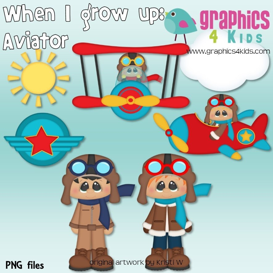 35 Pilot Party Props Airplane Party Diy Printable Photo Booth: When I Grow Up Aviator Digital Clipart