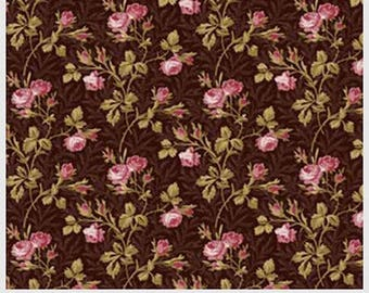 Savannah Classics Brown & Pink Buds Reproduction fabric from Washington Street by the yard