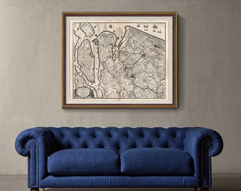 Rotterdam Old Map 1629, Rotterdam Map, Nautical Map Print, Map Of Holland, Home Decor- CP129