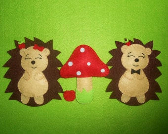 Woodland, Hedgehog felt figures - set of 3