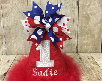 Red White and Blue  Birthday Hat, Party Hat, Customize Birthday Hat, 1st Birthday Hat, First Birthday Hat, July 4th Birthday