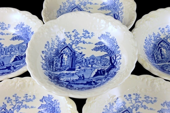 Dessert Bowls, Taylor Smith & Taylor, English Abbey, Fairway, Fruit Bowls, Sauce Bowls, Embossed, Hard to Find, Fine China, Set of 6