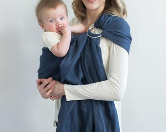 Double Layer Ring Sling, Baby Sling Newborn, Baby Wrap, Toddler Carrier-Instructions Included, Linen Ring Sling