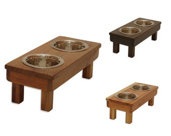 """Raised Dog Bowls, 7"""" Small Elevated Pet Feeder!  THE ONLY 100% Eco-Friendly, Pet Safe, Natural Dog Feeder, cat feeding station"""