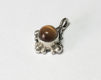 "Tiny bali sterling silver pendant charm 3/4"" long tiger eye"