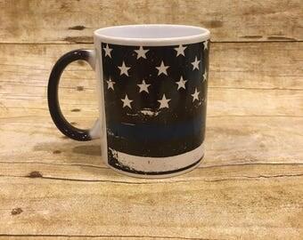 Black Police color changing 11oz Ceramic coffe mug thin blue line