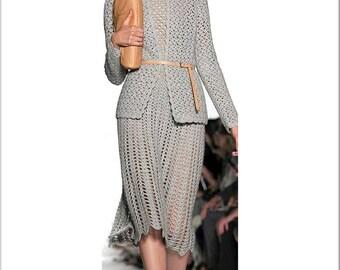 Crochet argent costume deux pièces gris (robe et veste) /  sur commande