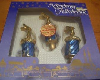 Three Christbaumschmuck Clip Christmas Ornaments, Germany