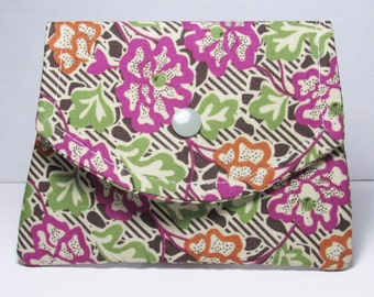 Womens Fabric Wallet, Fabric Women's Small Wallet, Credit Card Holder, Gift Card Holder, Gift For Her
