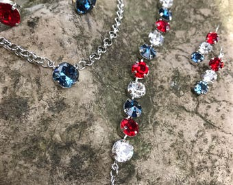 Patriotic swarovski set