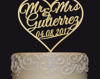 MR-MRS NAME Personalized  Cake Topper - Wedding - Anniversary - Valentine Day Cake Topper - Wedding Keepsake - Photo Prop - Rustic Chic
