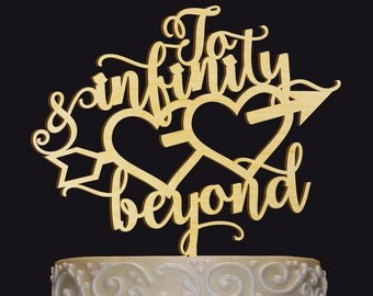 Rustic Wedding Cake Topper - Personalized Monogram Cake Topper - To Infinity and Beyond Topper - Keepsake Wedding Cake Topper