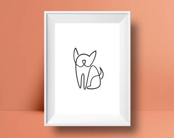 Minimalist Frenchie Print. Perfect for Boston Terrier, French Bulldog and Pug dog lovers!